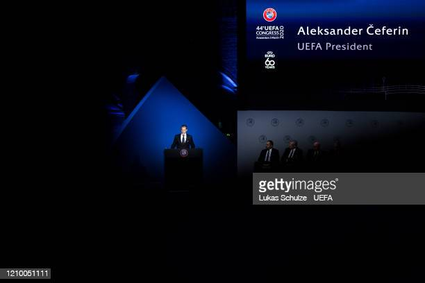 President Aleksander Ceferin speaks at the 44th UEFA Congress at Beur van Berlage on March 03 2020 in Amsterdam Netherlands