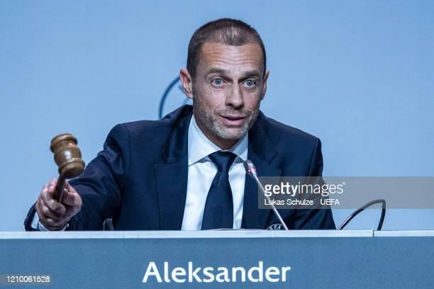 President Aleksander Ceferin speaks at the 44th UEFA Congress at Beur van Berlage on March 03, 2020 in Amsterdam, Netherlands.
