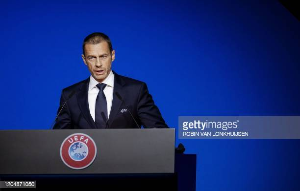President Aleksander Ceferin speaks during the 44th Ordinary UEFA Congress , in Amsterdam, the Netherlands, on March 3, 2020. / Netherlands OUT