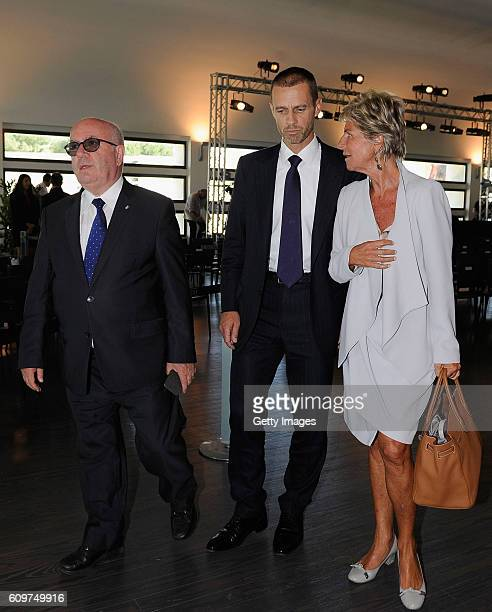 President Aleksander Ceferin speaks to FIGC President Carlo Tavecchio and UEFA female member on the FIFA Council Evelina Christillin during UEFA Euro...