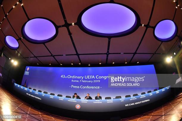 President Aleksander Ceferin , UEFA general secretary Theodore Theodoridis and managing director of communications, Philip Townsend hold a press...