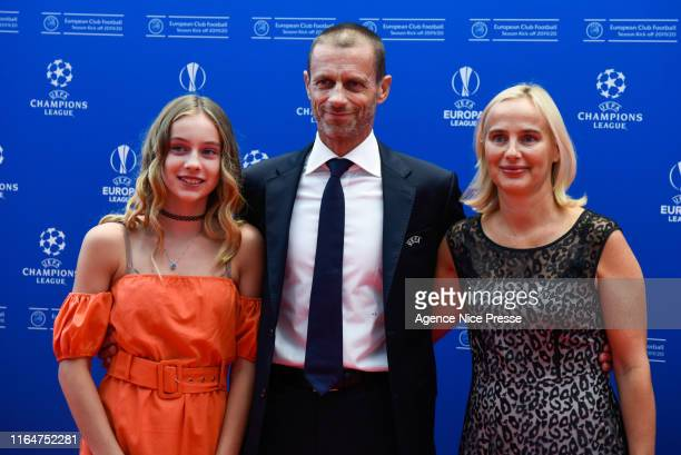 President Aleksander Ceferin, wife Barbara and Daughter during the 2019/2020 UEFA Champions League draw on August 29, 2019 in Monaco, Monaco.