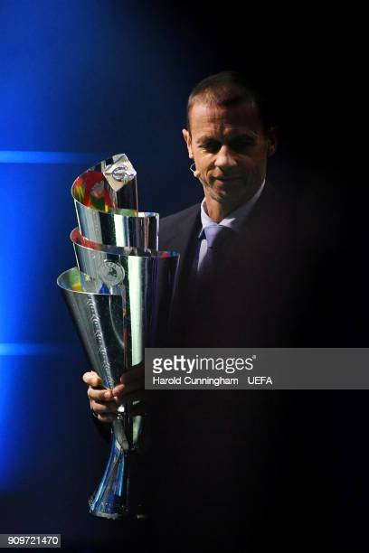 President Aleksander Ceferin with the new UEFA Nations League trophy which was unveiled during the UEFA Nations League Draw on January 24 2018 in...