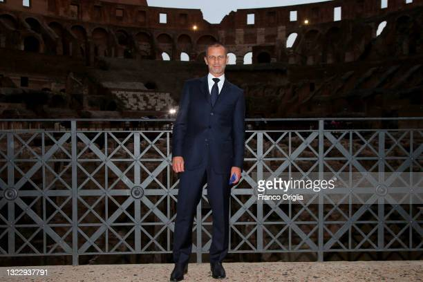 President Aleksander Čeferin attends the FIGC UEFA Euro 2020 Opening Event on June 10, 2021 in Rome, Italy.