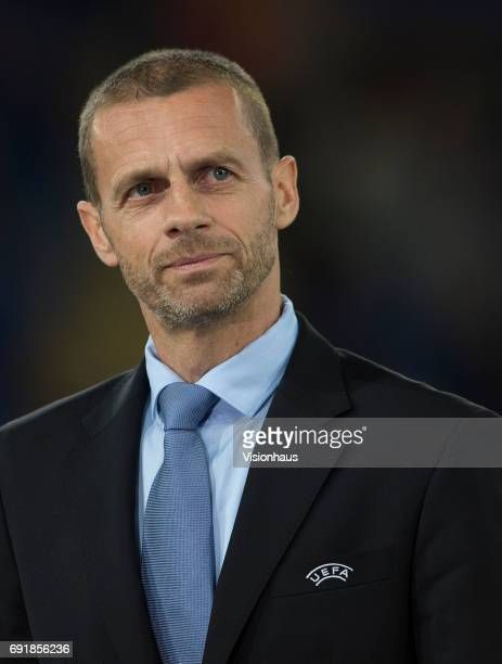 President Aleksander Čeferin during the UEFA Women's Champions League Final between Olympique Lyonnais and Paris Saint Germain on June 1 2017 at the...