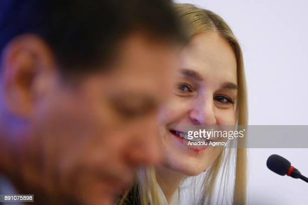 President Alexander Zhukov and Athletes' Commission Chairwoman Olympic sabre fencing champion Sofya Velikaya give a news conference following a...