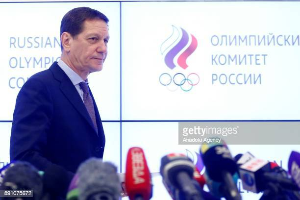 President Alexander Zhukov gives a news conference following a session of the Russian Olympic Committee to discuss the IOC decision to suspend the...