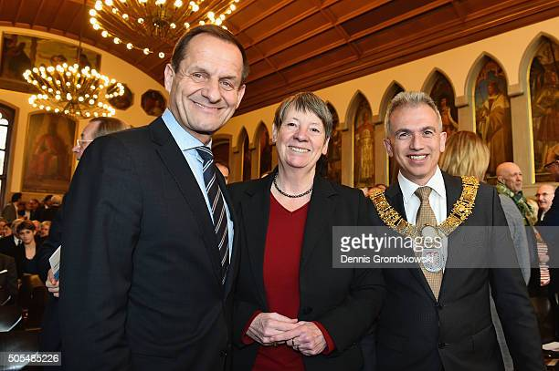 President Alfons Hoermann poses with Barbara Hendricks environment minister and mayor of Frankfurt Peter Feldmann during the DOSB New Year`s...