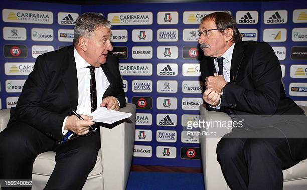 FIR President Alfredo Gavazzi and head coach Jacques Brunel attend an Italian Rugby Federation press conference ahead of 2012 RBS Six Nationsat...