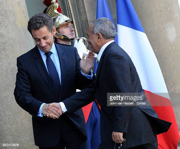 President Ali Abdallah Saleh of Yemen pays an official visit to meet with President Sarkozy of France at the Elysee Palace on the day of France's...