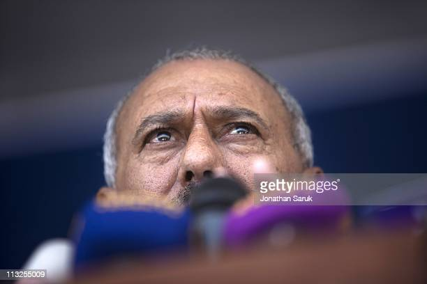 President Ali Abdullah Saleh gives a speech to thousands of supporters on March 10 2011 in Sana Yemen Thousands of Yemenis have been protesting...