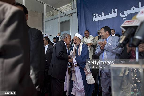 President Ali Abdullah Saleh greets high ranking members of his government before a giving a speech March 10 2011 in Sana Yemen Thousands of Yemenis...