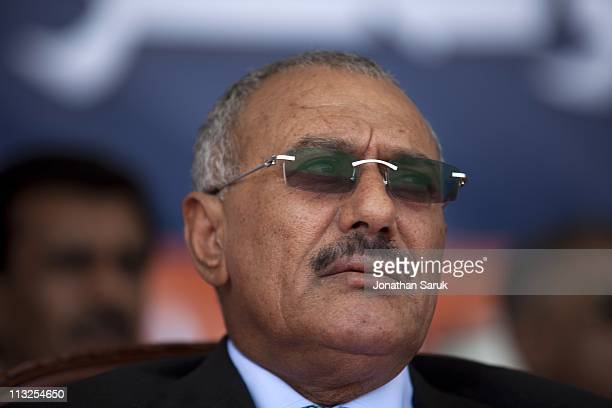 President Ali Abdullah Saleh waits to give a speech to thousands of supporters on March 10 2011 in Sana Yemen Thousands of Yemenis have been...