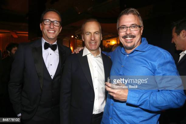 President AMC Charlie Collier actor Bob Odenkirk and writer Vince Gilligan at AMC BBCA and IFC Emmy party at BOA Steakhouse on September 17 2017 in...