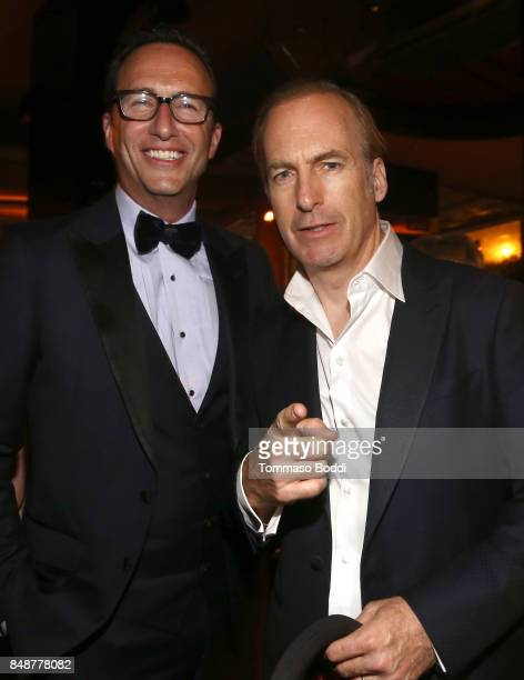 President AMC Charlie Collier and Bob Odenkirk at AMC BBCA and IFC Emmy party at BOA Steakhouse on September 17 2017 in West Hollywood California