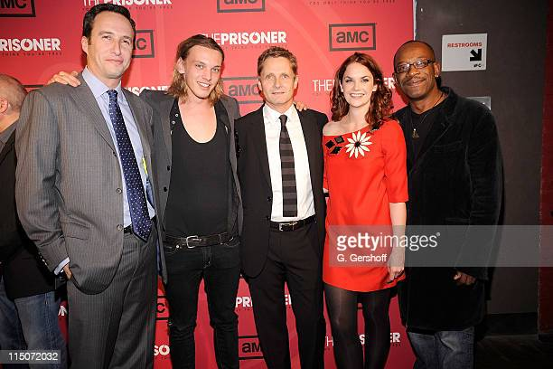 """President, AMC Movie Channel, Charlie Collier, actor Jamie Campbell Bower, director Nick Hurran, and actors Ruth Wilson and Lennie James attend """"The..."""