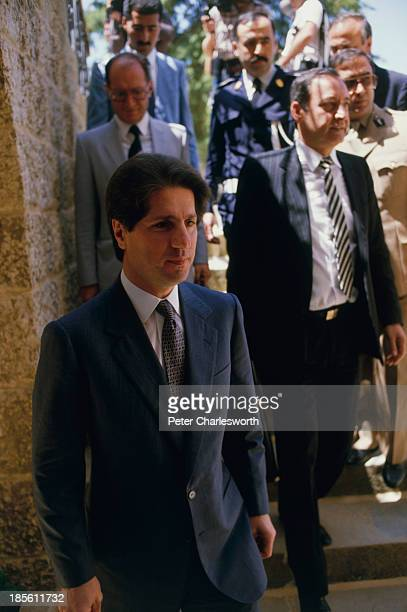 President Amine Gemayel leaves a cabinet meeting at the summer Presidential Palace in Bikfaya, northeast of Beirut..