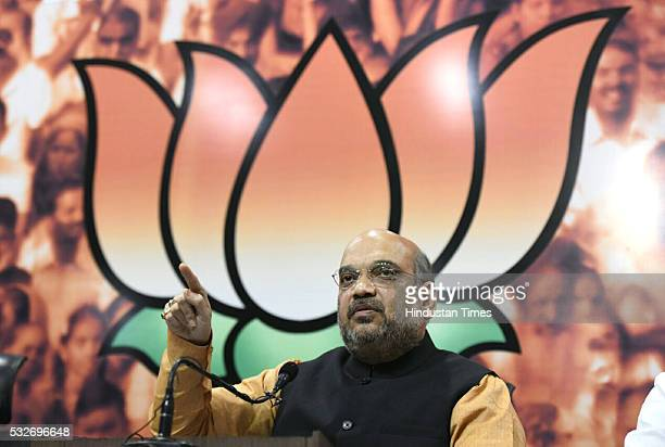 President Amit Shah addresses a press conference after winning assembly elections in five states saying the party has gone stronger from Kerala to...