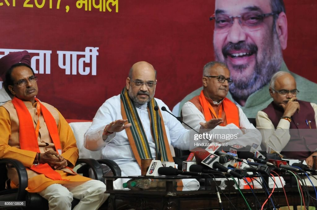 BJP President Amit Shah addresses a press conference, on August 19, 2017 in Bhopal, India. Shah announced that the 2018 assembly polls in Madhya Pradesh will be fought under the leadership of Chief Minister Shivraj Singh Chouhan.