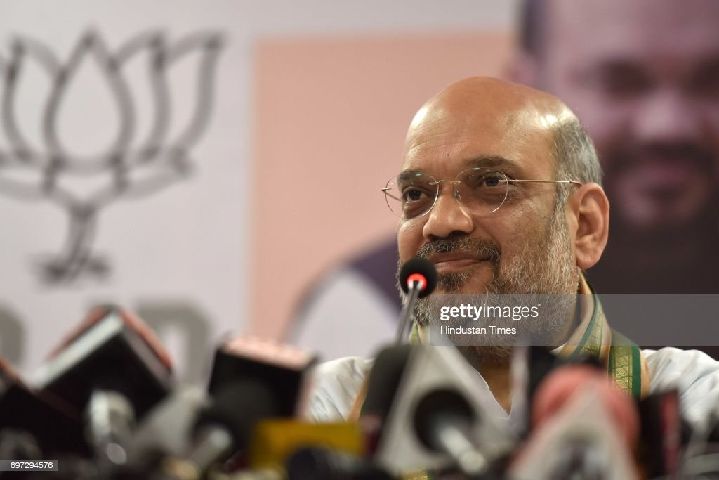 BJP President Amit Shah addresses during a press conference along with Maharashtra CM Devendra Fadanvis and Raosaheb Danve at BJP office, Dadar, on June 17, 2017 in Mumbai, India. Amit Shah indicated that the party will fight the 2019 Assembly Polls in the state on its own, contesting each and every seat with its full strength. Shah is on a three-day visit to Mumbai as a part of his countrywide tour to expand the party organisation ahead of the 2019 General Elections.