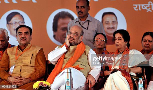 President Amit Shah along with Chandigarh MP Kirron Kher and Chandigarh BJP President Sanjay Tandon and others during party workers 'sammelan' rally...