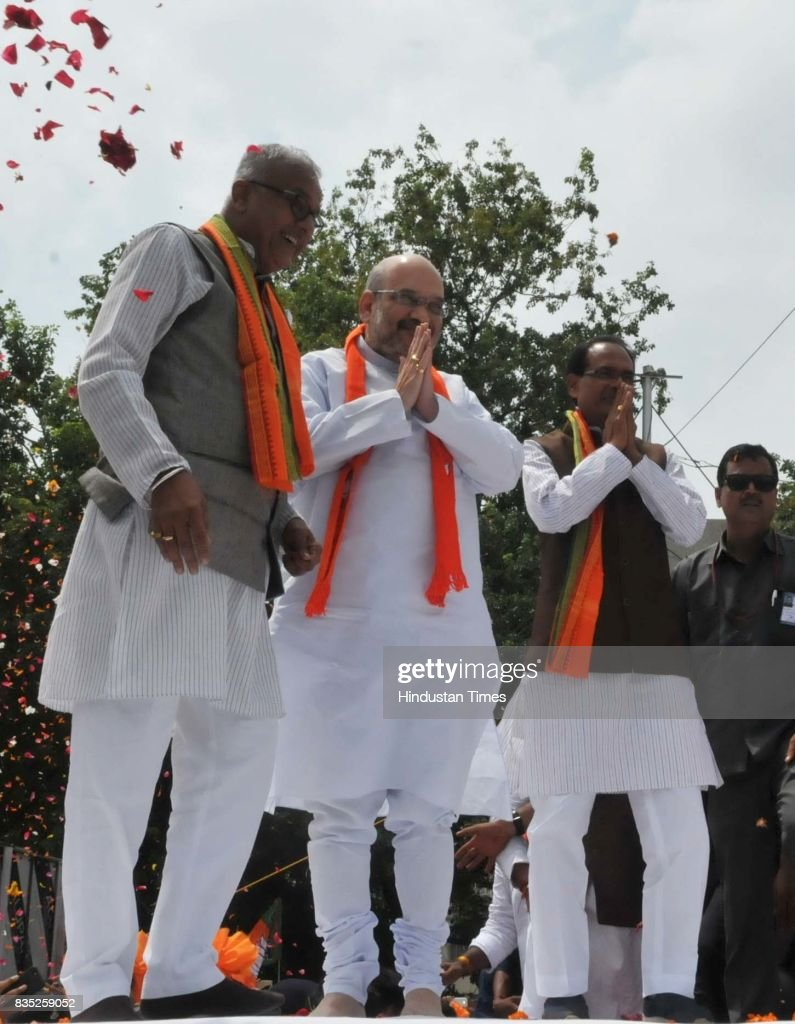 BJP President Amit Shah along with Chief Minister Shivraj Singh Chouhan and state party President Nand Kumar Singh Chauhan on August 18, 2017 in Bhopal, India.