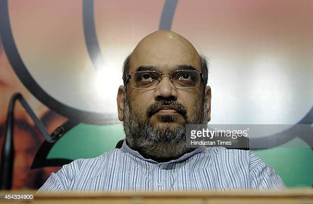BJP president Amit Shah at press conference after former Congress Rajya Sabha MP Chaudhary Birender Singh joined the BJP at BJP Head Quarters on...