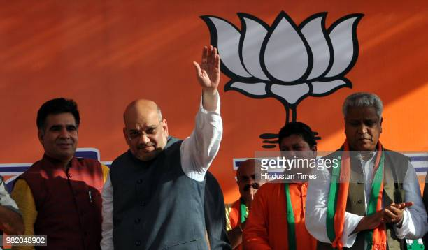 President Amit Shah during a public rally to mark historic martyrdom anniversary of Jana Sangh founder Syama Prasad Mookerjee after his party's...