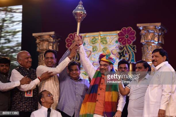 President Amit Shah during the Dussehra festival celebration at Lal Quila Grounds on September 30 2017 in New Delhi India Dussehra known as...