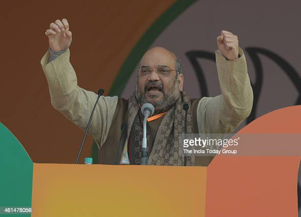 President Amit Shah during the party's 'Abhinandan' rally in New Delhi