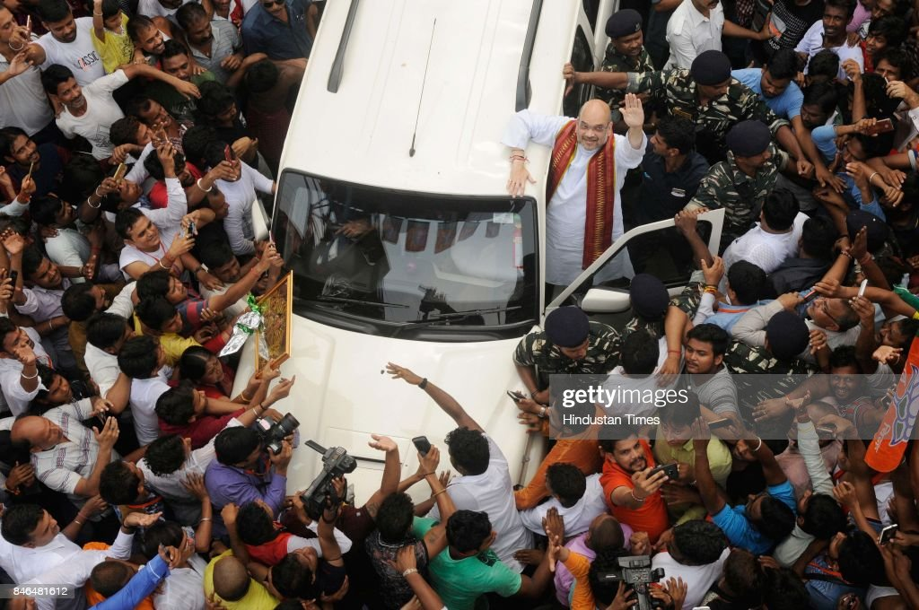 BJP President Amit Shah, who is on a three-day visit to West Bengal, visits the house of a BJP worker in north Kolkata's Cossipore with other leaders, on September 13, 2017 in Kolkata, India. The three-day visit saw Shah interacting with senior state leaders, party's grassroots leaders, a group of intellectuals, victims of political violence and even an informal meeting with senior journalists and editors.