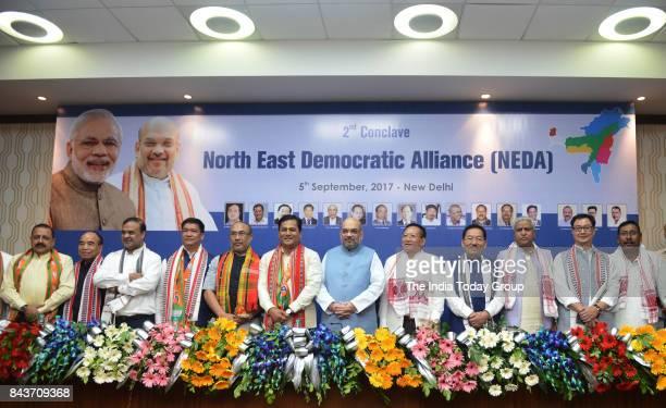BJP president Amit Shah with Chief Minister of Arunachal Pradesh Pema Khandu Chief Minister of Manipur N Biren Singh Chief Minister of Assam...