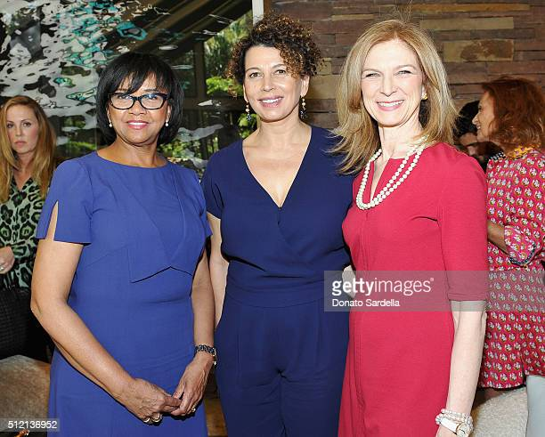 President AMPAS Cheryl Boone Isaacs Chairman Universal Pictures Donna Langley and CEO AMPAS Dawn Hudson attend the 3rd Annual DVF Oscar Luncheon...