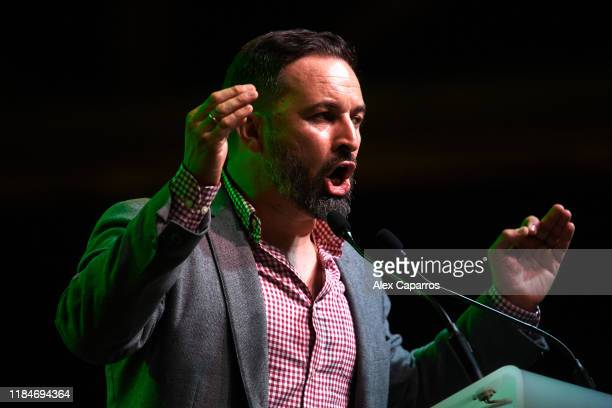 President and candidate for the November 10 general election Santiago Abascal delivers a speech during a VOX rally on the first day of the electoral...