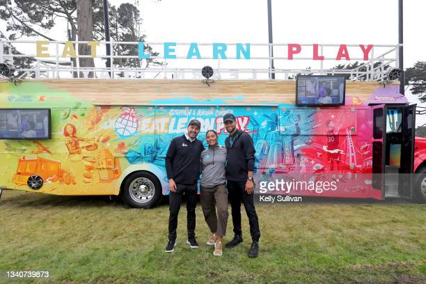 President and CEO at Eat. Learn. Play. Foundation Christopher Helfrich, Ayesha Curry, and Stephen Curry attend The Workday Charity Classic, hosted by...