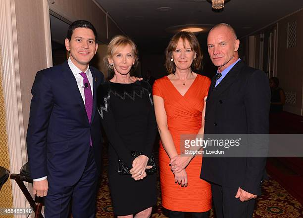 IRC President and CEO David Miliband and Louise Shackelton pose together with Sting and Trudie Styler at the Annual Freedom Award Benefit Event...