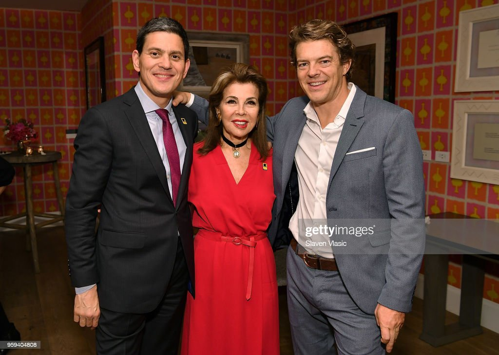 IRC President and CEO David Miliband, executive producer HRH Princess Firyal of Jordan and executive producer Jason Blum attend 'This is Home: A Refugee Story' - New York Premier Screening at Crosby Street Hotel on May 16, 2018 in New York City.