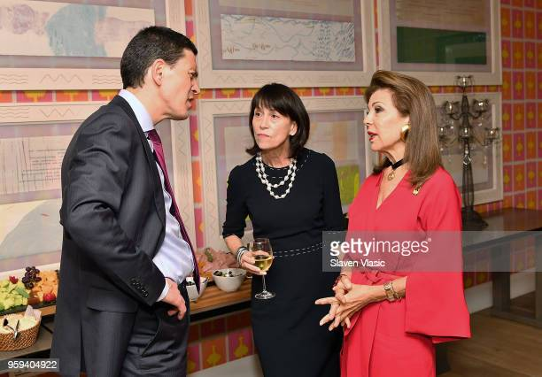 IRC President and CEO David Miliband IRC Board cochair Katherine Farley and Executive producer HRH Princess Firyal of Jordan attend 'This is Home A...