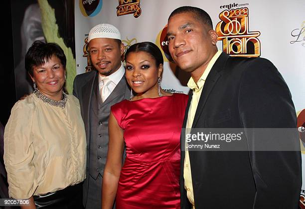 BET President and CEO Debra Lee actors Terrence Howard and Taraji P Henson and BET executive Paxton Baker attend the 2009 Soul Train Awards PreParty...