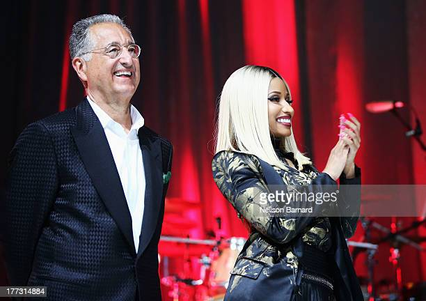 President and CEO Del Bryant and Nicki Minaj speak onstage at the 2013 BMI RB/HipHop Awards at Hammerstein Ballroom on August 22 2013 in New York City