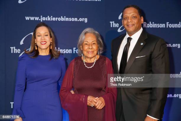 JRF President and CEO Della Britton Baeza JRF founder Rachel Robinson and JRF chairman Gregg Gonsalves attend the Jackie Robinson Foundation 2017...