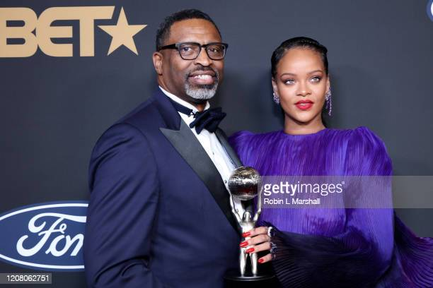 NAACP President and CEO Derrick Johnson and Rihanna pose with the President's Award at the 51st NAACP Image Awards Presented by BET at Pasadena Civic...