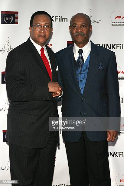 President and CEO Dr Benjamin Chavis and Simeon Wright attend The Untold Story of Emmett Louis Till film premiere hosted by the Hip Hop Network at...