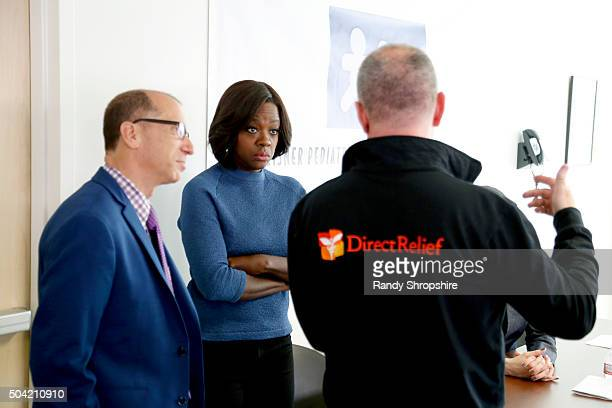 President and CEO Herb K Schultz Actress Viola Davis and Direct Relief CEO Thomas Tighe visit Vaseline Healing Project with Direct Relief at Eisner...