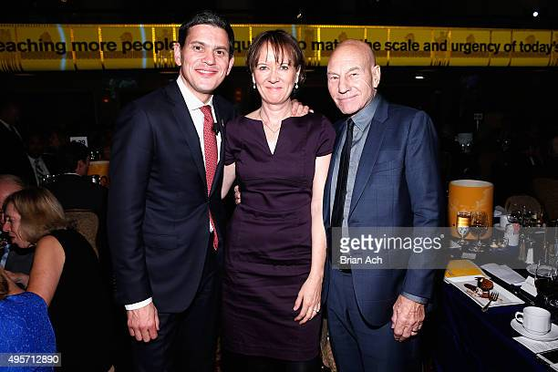 President and CEO IRC David Miliband Louise Shackelton and Sir Patrick Stewart attend the Annual Freedom Award Benefit hosted by the International...