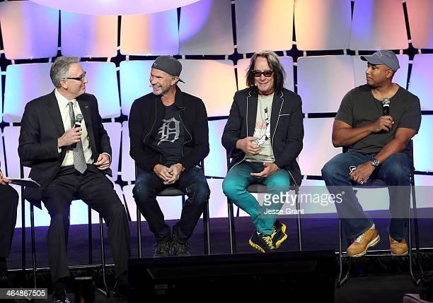 President and CEO Joe Lamond Drummer Chad Smith recording artist Todd Rundgren and Baseball player Bernie Williams attend the 2014 National...