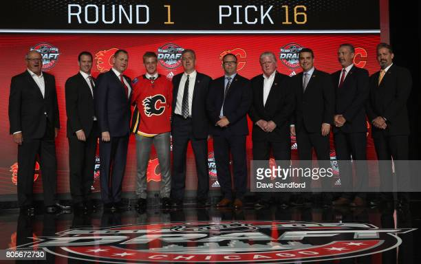 President and CEO Ken King, assistant general manager Craig Conroy, general manager Brad Treliving, 16th overall pick Juuso Valimaki, director of...
