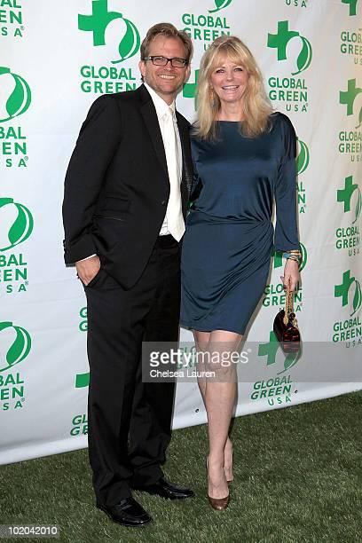 President and CEO Matt Petersen and actress Cheryl Tiegs arrive at Global Green USA's 14th Annual Millennium Awards at Fairmont Miramar Hotel on June...