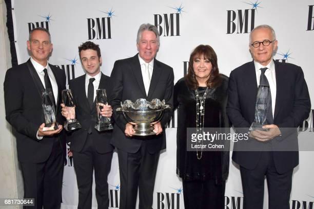 BMI President and CEO Michael O'Neill composer Justin Hurwitz 2017 BMI Icon Award recipient Alan Silvestri BMI VP Film TV Visual Media Relations...