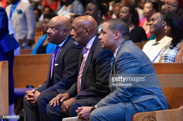 President and CEO NMAAM H Beecher Hicks Bishop Jerry Maynard and Pastor John Faison attend an Evening with Richard Smallwood and Yolanda Adams...